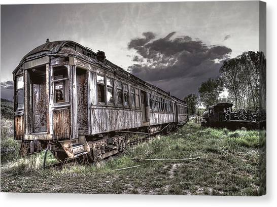 Train Conductor Canvas Print - Ghost Town Train - Montana by Daniel Hagerman