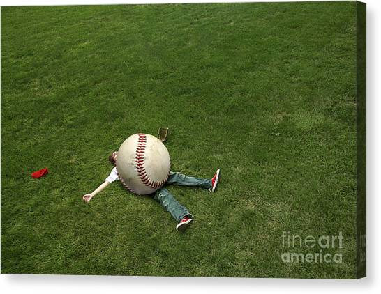 Baseball Players Canvas Print - Giant Baseball by Diane Diederich
