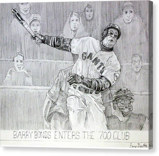 Barry Bonds Canvas Print - Giant Baseball Ployer Bary Bonds Enters The 700 Club by Gary Beattie