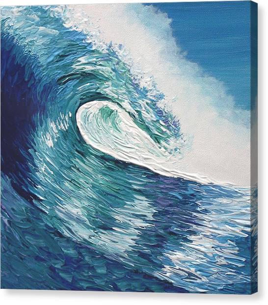 Surf Shack Canvas Print   Giant Blue Wave By Michael Baum