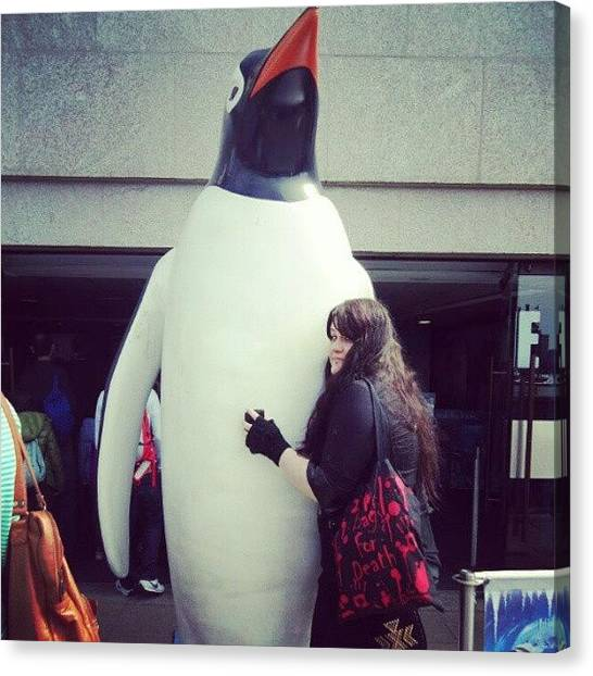 Penguins Canvas Print - Giant Penguin Madee Insanely Happy by Bee Mcmahon