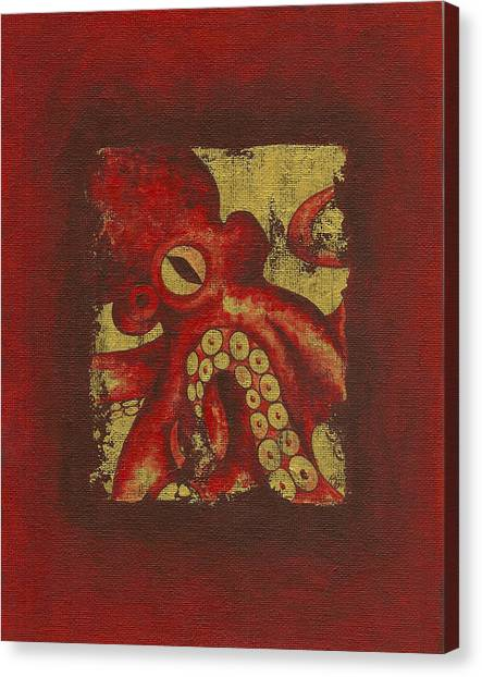 Giant Red Octopus Canvas Print