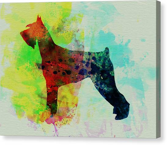 Schnauzers Canvas Print - Giant Schnauzer Watercolor by Naxart Studio