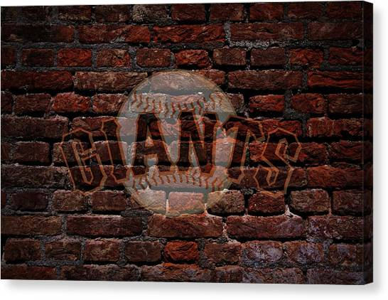 Giants Baseball Graffiti On Brick  Canvas Print