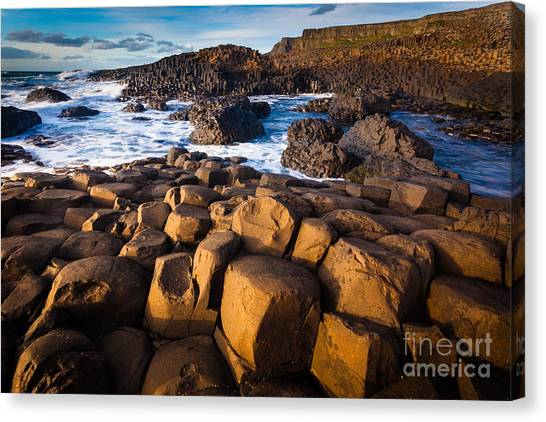 World Heritage Site Canvas Print - Giant's Causeway Surf by Inge Johnsson