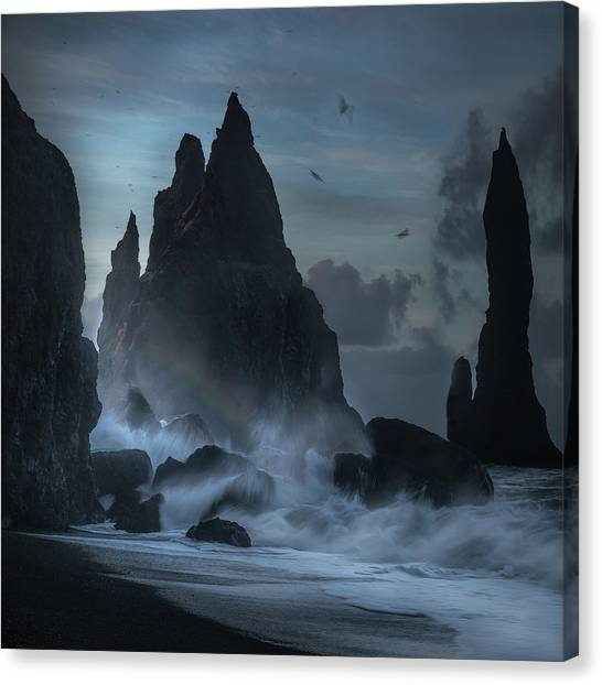 Beach Cliffs Canvas Print - Giants by Margit Lisa Roeder