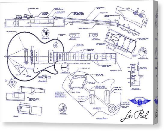 Mandolins Canvas Print - Gibson Les Paul Blueprint Drawing by Jon Neidert