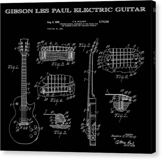 Notable Canvas Print - Gibson Les Paul Guitar 2 Patent Art 1955 by Daniel Hagerman