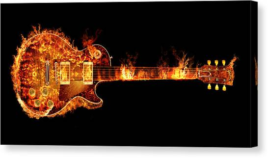 Jimmy Page Canvas Print - Gibson Les Paul Guitar On Fire by Robert Gardiner