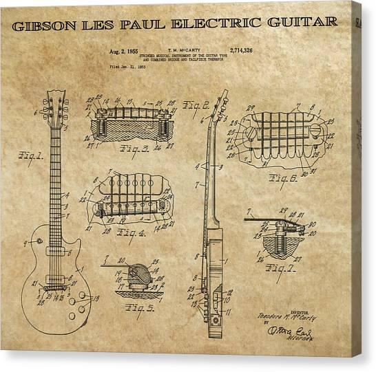Notable Canvas Print - Gibson Les Paul Guitar Patent Art 1955 by Daniel Hagerman