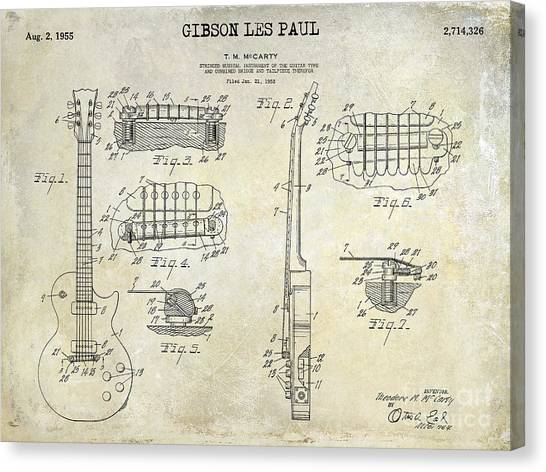 Electric Guitars Canvas Print - Gibson Les Paul Patent Drawing by Jon Neidert