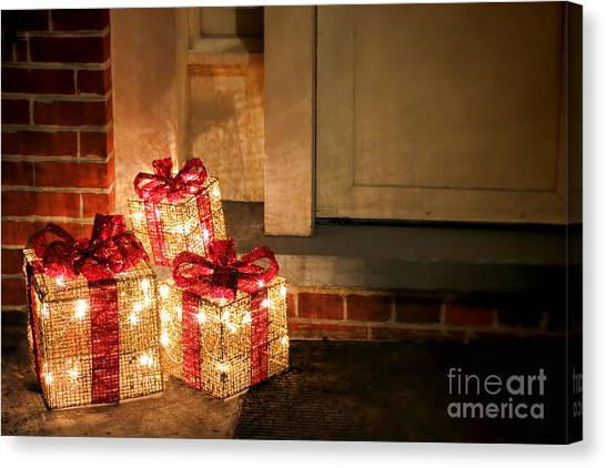 Christmas Lights Canvas Print - Gift Of Lights by Olivier Le Queinec