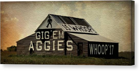 The University Of Texas Canvas Print - Gig Em Aggies by Stephen Stookey