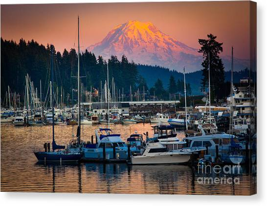 Mount Rainier Canvas Print - Gig Harbor Dusk by Inge Johnsson