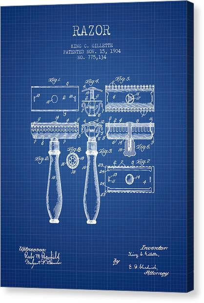 Barber Shop Canvas Print - Gillette Razor Patent From 1904 - Blueprint by Aged Pixel
