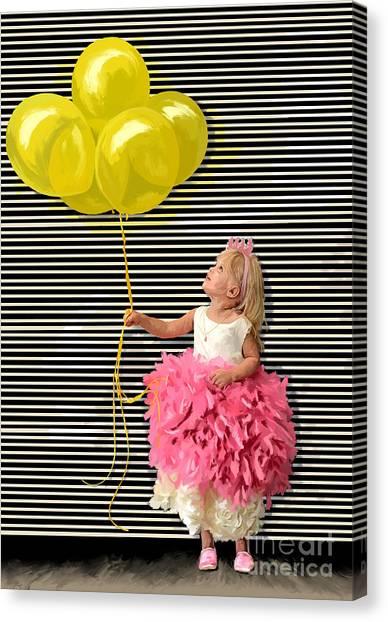 Gillian With Yellow Balloons Canvas Print