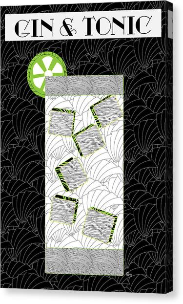 Gin And Tonic Cocktail Art Deco Swing   Canvas Print