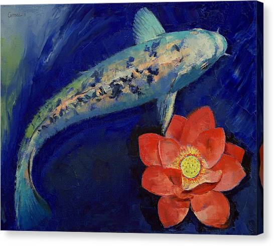 Gin Canvas Print - Gin Matsuba Koi And Lotus by Michael Creese