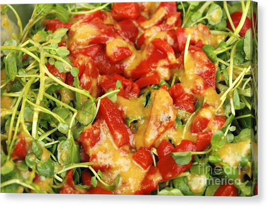 Salad Dressing Canvas Print - Ginger Watercress And Red Pepper Salad by Lee Serenethos