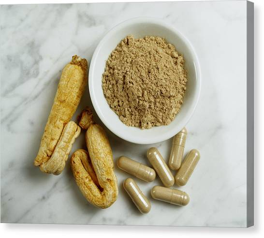 Ginseng Root, Powder And Capsules Canvas Print by Mitch Hrdlicka