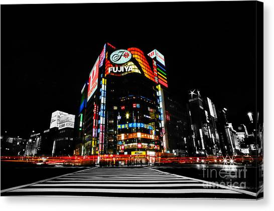 Ginza At Night Canvas Print