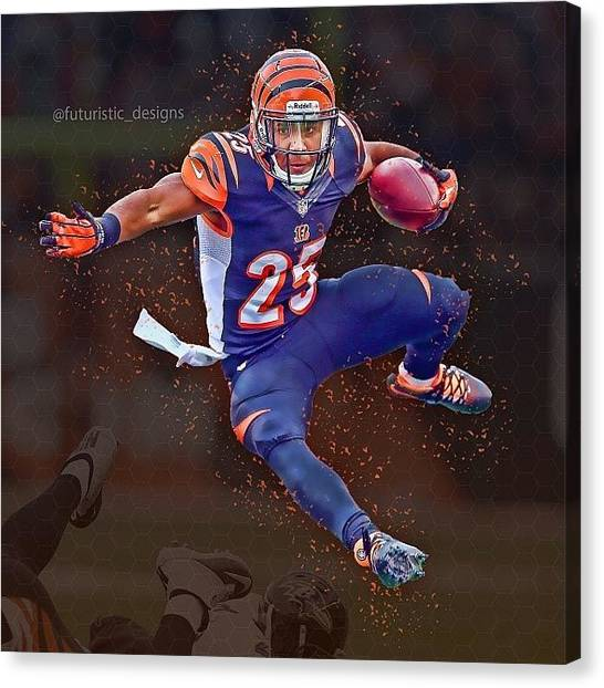 Bengals Canvas Print - #giovanibernard With The Win Against by Futuristic Designs