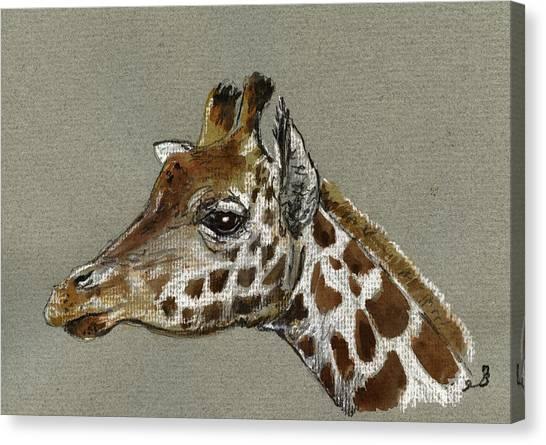 Nature Study Canvas Print - Giraffe Head Study by Juan  Bosco