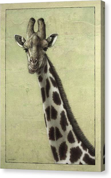 African Canvas Print - Giraffe by James W Johnson