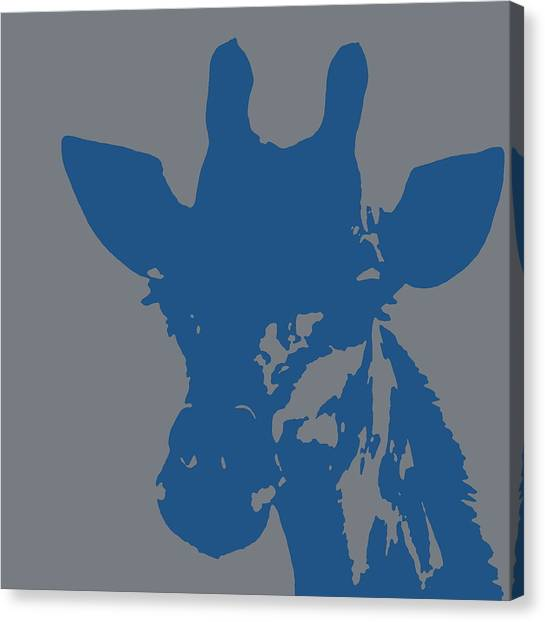 Giraffe Silhouette Grey Blue Canvas Print