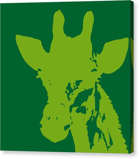 Giraffe Silhouette Lime Green Canvas Print