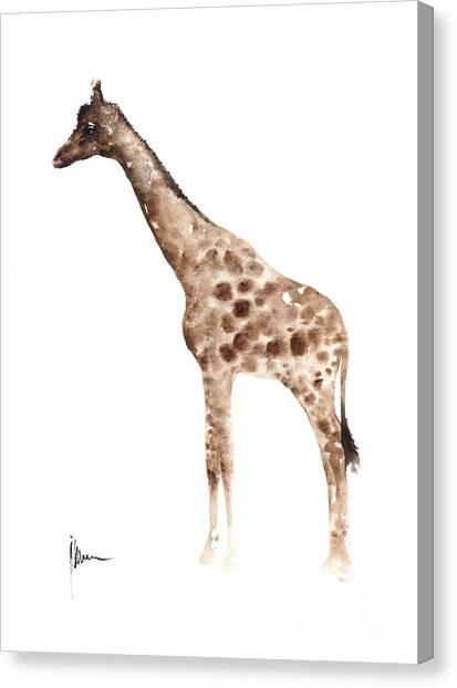 Giraffes Canvas Print - Giraffe Watercolor Art Print Painting African Animals Poster by Joanna Szmerdt