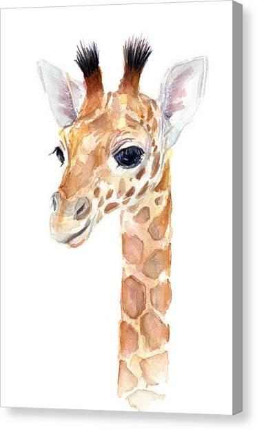 Zoo Canvas Print - Giraffe Watercolor by Olga Shvartsur