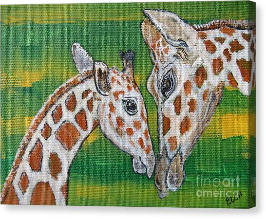 Giraffes Artwork - Learning And Loving Canvas Print