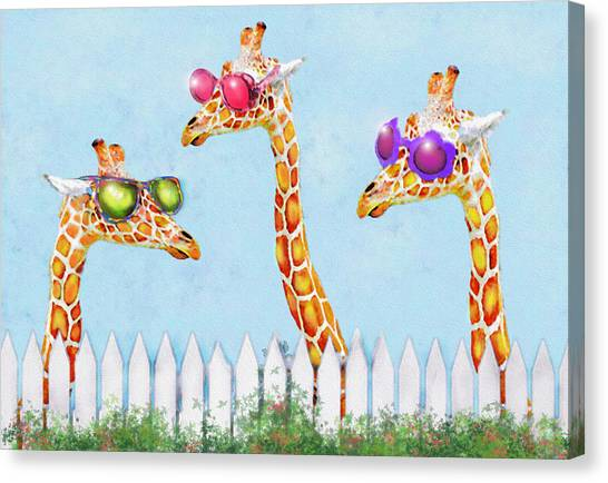 Giraffes In Sunglasses Canvas Print