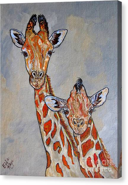 Giraffes - Standing Side By Side Canvas Print