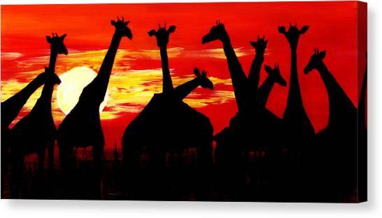 Giraffes Sunset Africa Serengeti Canvas Print