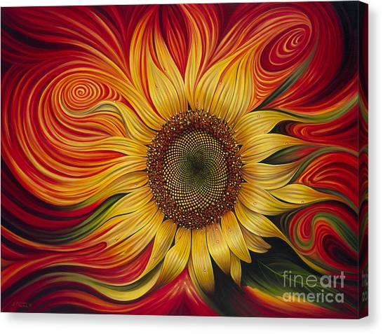 Sunflower Canvas Print - Girasol Dinamico by Ricardo Chavez-Mendez