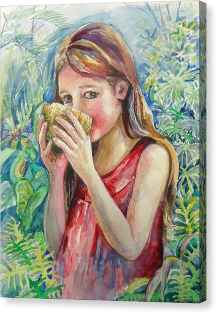 Girl And Coconut Canvas Print