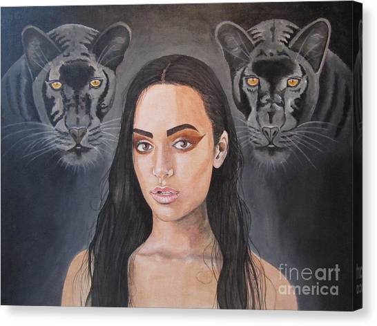 Girl And Panther Canvas Print