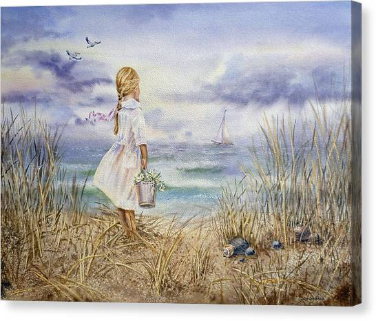 Seagrass Canvas Print - Girl At The Ocean by Irina Sztukowski