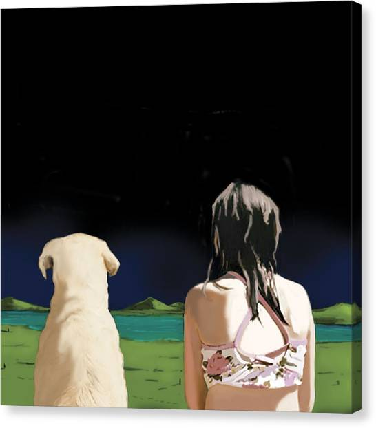 Bikini Canvas Print - Girl And Yellow Lab by Marjorie Weiss