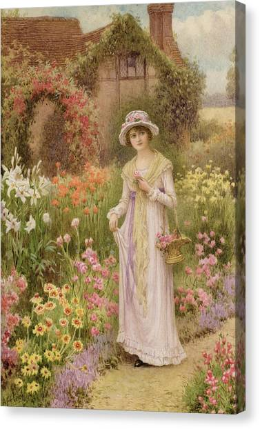 Victorian Garden Canvas Print - Girl By A Herbaceous Border by William Affleck