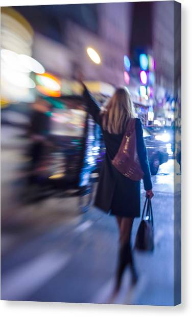 Girl Catching A Taxi In Manhattan Canvas Print