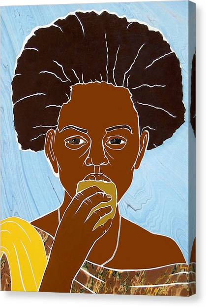 Girl Eating Mango Canvas Print