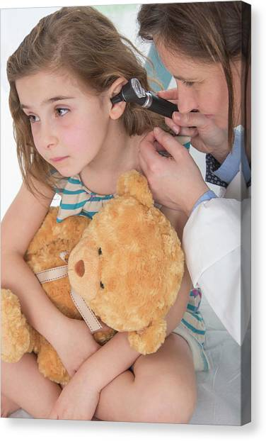 Care Bears Canvas Print - Girl Having Her Ears Examined by Lea Paterson