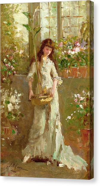 M.a Canvas Print - Girl In A Conservatory by Alexander M Rossi