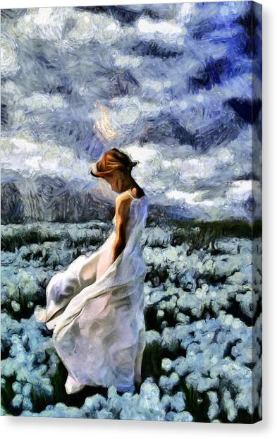 Girl In A Cotton Field Canvas Print