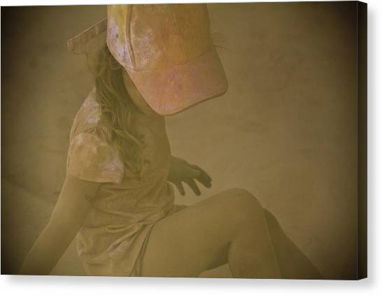 Girl In A Dust Storm Canvas Print by Debbie Cundy