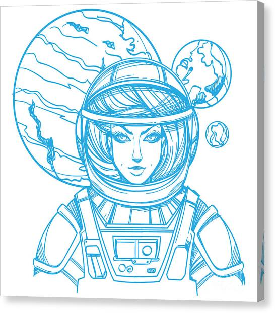 Aliens Canvas Print - Girl In A Spacesuit For T-shirt Design by Filkusto