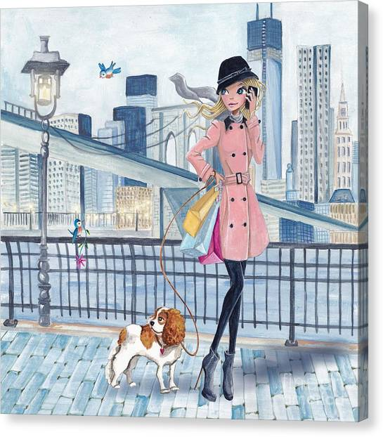 Shopping Bags Canvas Print - Girl In New York by Caroline Bonne-Muller
